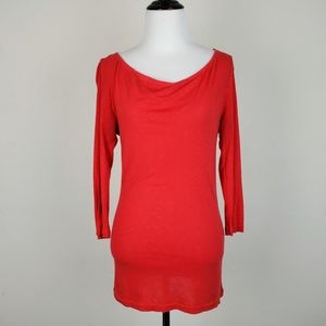 Michael Stars Red Cowl Neck 3/4 Sleeve Top